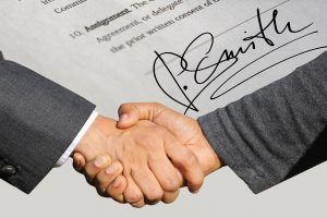 signature, contract, shaking hands